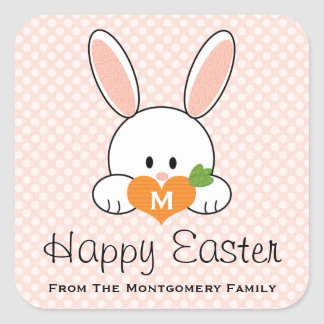 Monogrammed Happy Easter Bunny Seals Pink Square Sticker