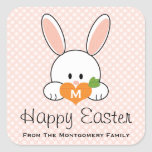 Monogrammed Happy Easter Bunny Seals Pink Square Stickers