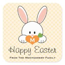 Monogrammed Happy Easter Bunny Seals Yellow