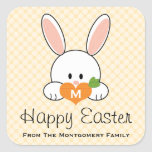 Monogrammed Happy Easter Bunny Seals Yellow Square Sticker