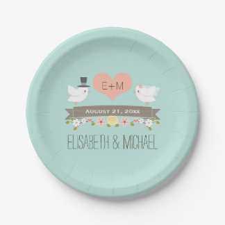 Monogrammed Heart Aqua Blue Love Bird Dove Wedding Paper Plate