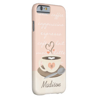 Monogrammed Heart Coffe Cup Barely There iPhone 6 Case