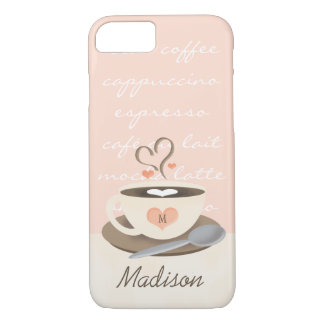 Monogrammed Heart Coffe Cup iPhone 8/7 Case