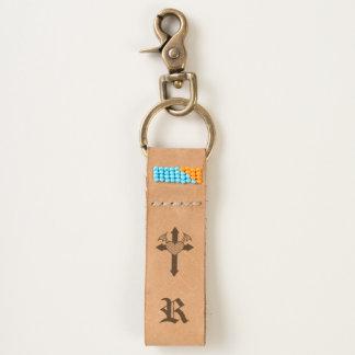 Monogrammed heart cross keychain