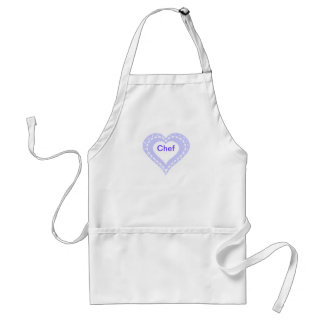 Monogrammed Heart Lilac & white polka dots pattern Adult Apron
