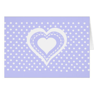 Monogrammed Heart Lilac white polka dots pattern Greeting Cards