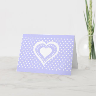 Monogrammed Heart Lilac & white polka dots pattern Note Card