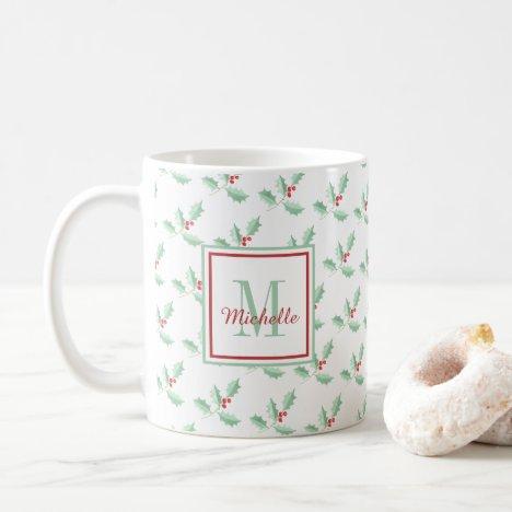 Monogrammed Holly Christmas Holiday Coffee Mug