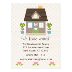 Monogrammed Home Moving Announcement Postcard at Zazzle
