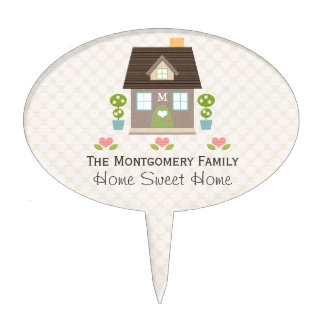 Monogrammed Home Sweet Home Cake Topper Pick