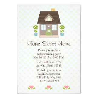Monogrammed Home Sweet Home Housewarming Party Card