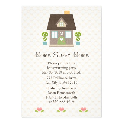 Monogrammed Home Sweet Home Housewarming Party Personalized Announcements