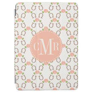 Monogrammed Horseshoe and Rose iPad Air Cover