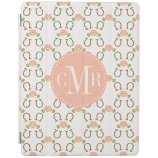 Monogrammed Horseshoe and Rose iPad Cover