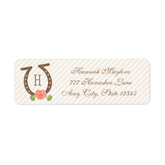 MONOGRAMMED HORSESHOE AND ROSE RETURN ADDRESS LABEL