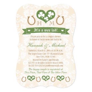 Monogrammed Horseshoe Shamrock Couples Baby Shower Card