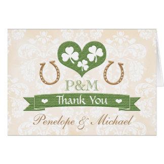 MONOGRAMMED HORSESHOE SHAMROCK WEDDING THANK YOU CARD