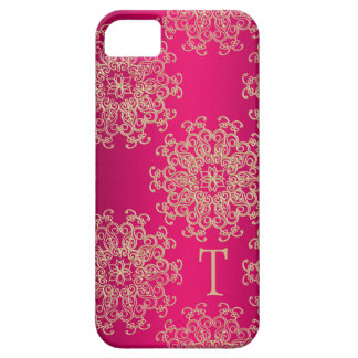 Monogrammed Hot Pink and Gold Indian Pattern iPhone 5 Case