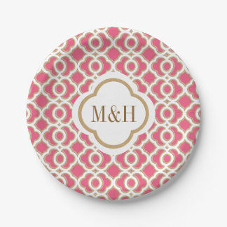 Monogrammed Hot Pink and Gold Moroccan Wedding Paper Plate