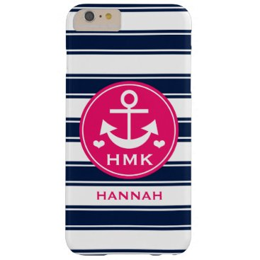 Beach Themed MONOGRAMMED HOT PINK AND NAVY ANCHOR BARELY THERE iPhone 6 PLUS CASE