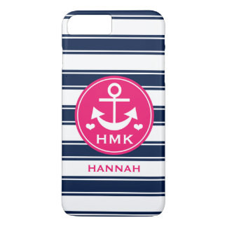 MONOGRAMMED HOT PINK AND NAVY ANCHOR iPhone 8 PLUS/7 PLUS CASE