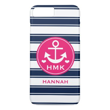 Beach Themed MONOGRAMMED HOT PINK AND NAVY ANCHOR iPhone 8 PLUS/7 PLUS CASE