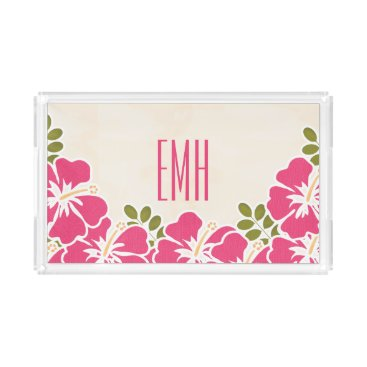 Beach Themed MONOGRAMMED HOT PINK FUCHSIA HIBISCUS ACRYLIC SERVING TRAY