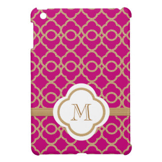 Monogrammed Hot Pink Gold Moroccan iPad Mini Cases