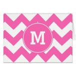 Monogrammed Hot Pink Zigzag Pattern Card