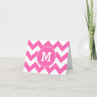 Monogrammed Hot Pink Zigzag Pattern Note Card