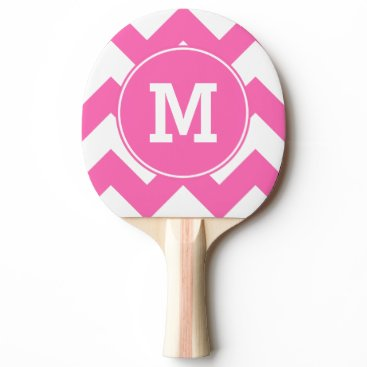 cliffviewgraphics Monogrammed Hot Pink Zigzag Pattern Ping Pong Paddle