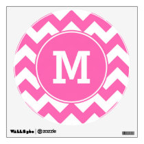 Monogrammed Hot Pink Zigzag Pattern Wall Decal