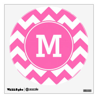 Monogrammed Hot Pink Zigzag Pattern Wall Graphics
