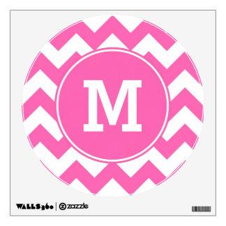 Monogrammed Hot Pink Zigzag Pattern Room Sticker