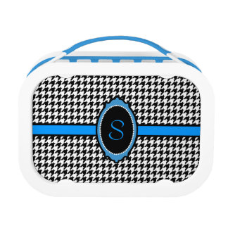 monogrammed houndstooth pattern in blue lunch box
