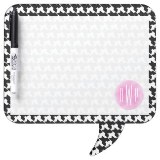 Monogrammed Houndstooth + Pink Watercolor Dry Erase Board