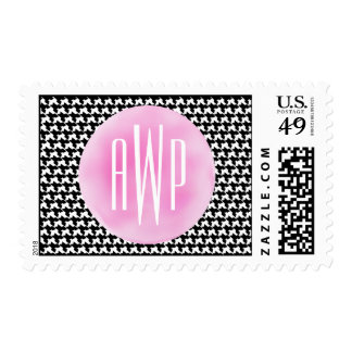 Monogrammed Houndstooth + Pink Watercolor Postage