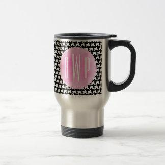 Monogrammed Houndstooth + Pink Watercolor Travel Mug