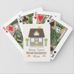 "Monogrammed House Bicycle&#174; Playing Cards<br><div class=""desc"">A cute new home with a green door, heart window and pink knob flanked by topiary in blue pots with white blooming flowers can be personalized with your family initial or monogram on these custom Bicycle&#174; playing cards. Flowers in the shape of hearts and and a creamy polka dot background...</div>"