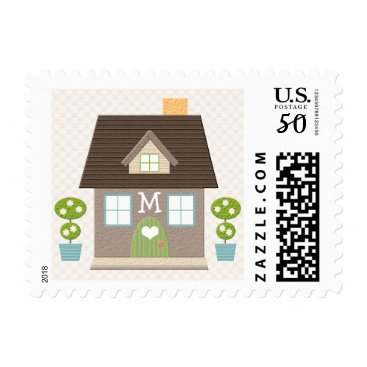 Valentines Themed Monogrammed House Postage Stamps