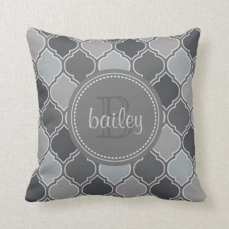 Monogrammed Hues of Grey Modern Lattice Pattern Pillows