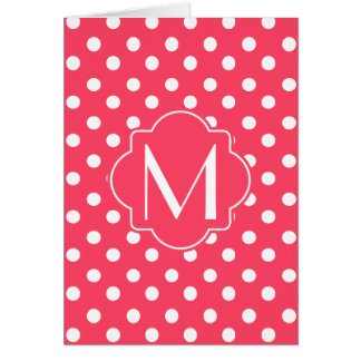 Monogrammed Indian Red Polka Dots Pattern Card