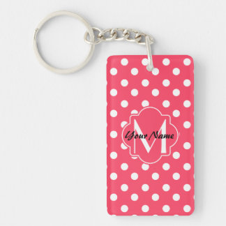 Monogrammed Indian Red Polka Dots Pattern Keychain