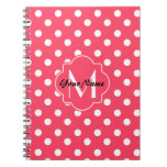 Monogrammed Indian Red Polka Dots Pattern Notebook