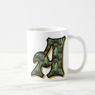 Monogrammed Initial A Daisies Mug