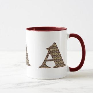 Monogrammed Initial A Elegant Floral Mug
