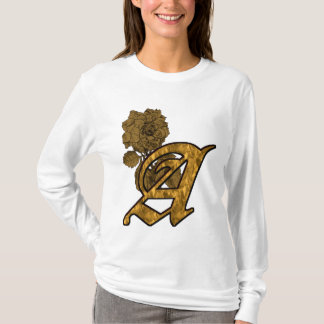 Monogrammed Initial A Gold Peony Hoody