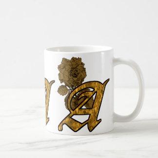 Monogrammed Initial A Gold Peony Mug