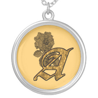 Monogrammed Initial A Gold Peony Necklace