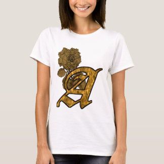 Monogrammed Initial A Gold Peony T Shirt